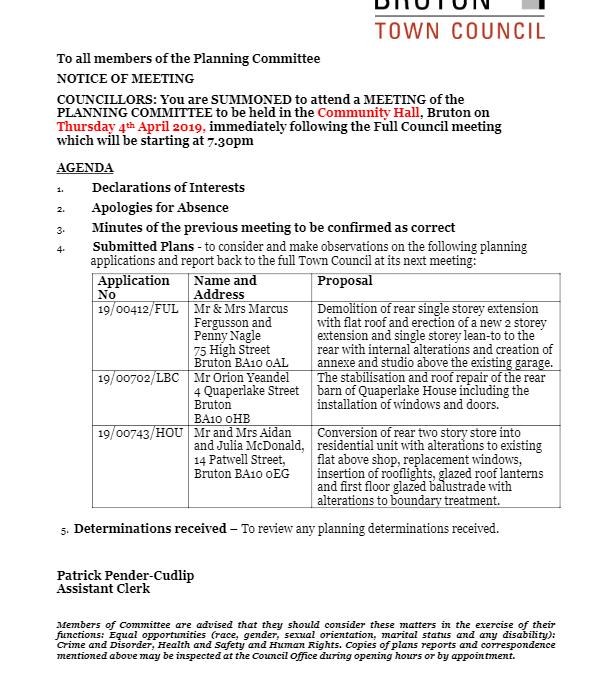 Planning Agenda, 4th April